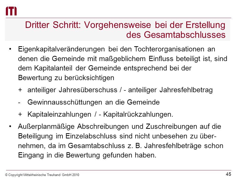 44 © Copyright Mittelrheinische Treuhand GmbH 2010 Dritter Schritt: Vorgehensweise bei der Erstellung des Gesamtabschlusses Abweichende Bewertungsmeth