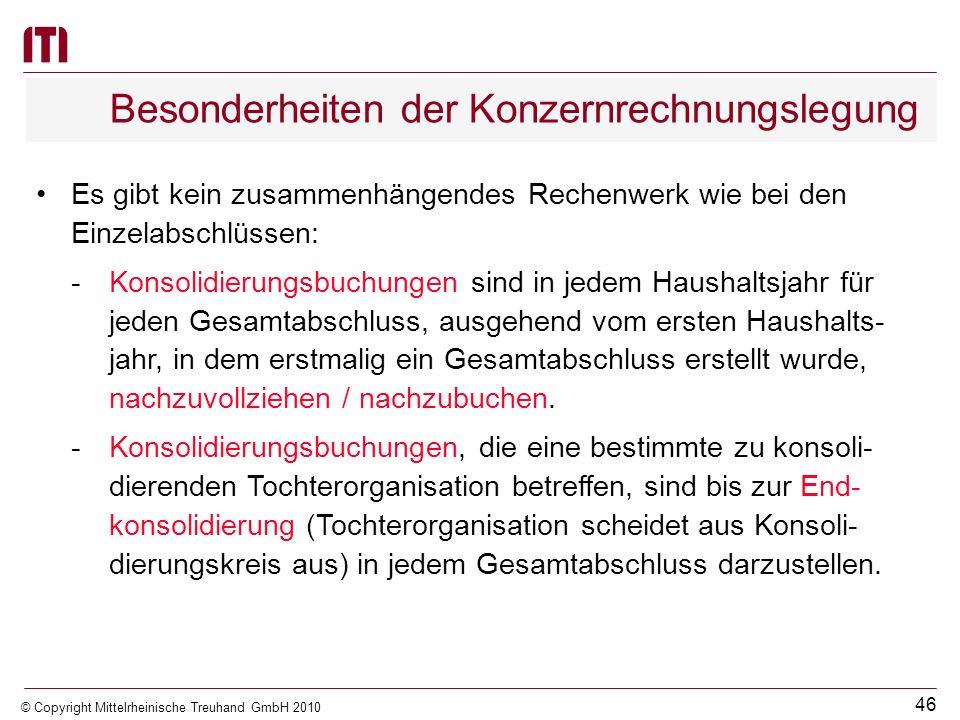 45 © Copyright Mittelrheinische Treuhand GmbH 2010 Dritter Schritt: Vorgehensweise bei der Erstellung des Gesamtabschlusses Eigenkapitalveränderungen