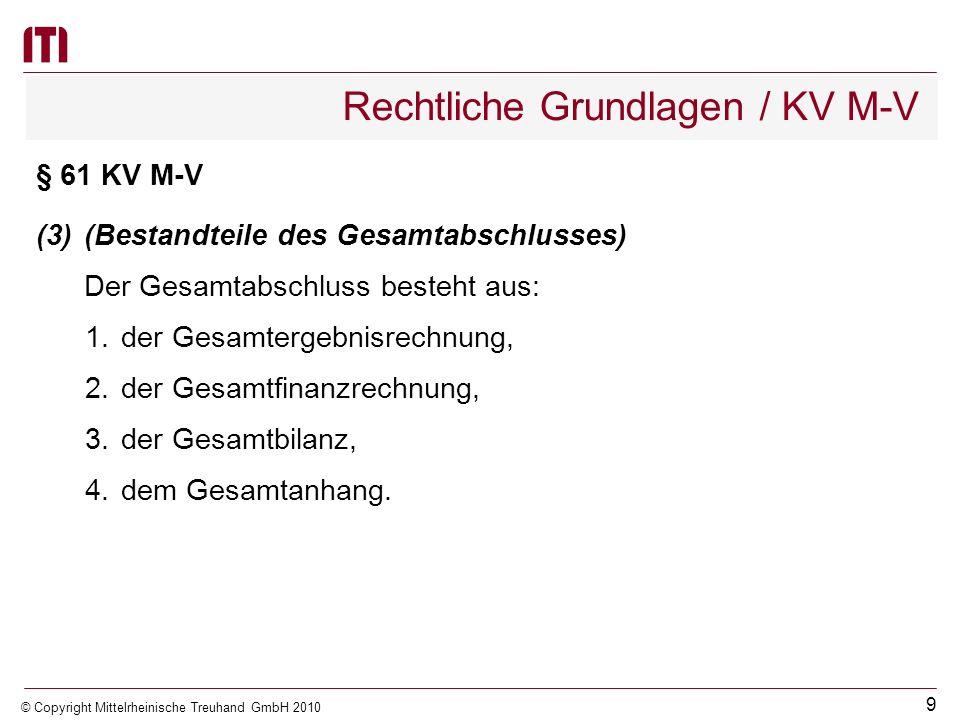 8 © Copyright Mittelrheinische Treuhand GmbH 2010 Rechtliche Grundlagen / KV M-V (Tochterorganisationen mit maßgeblichem Einfluss der Gemeinde) Einen