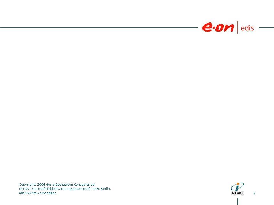 7 Copyrights 2006 des präsentierten Konzeptes bei INTAKT Geschäftsfeldentwicklungsgesellschaft mbH, Berlin. Alle Rechte vorbehalten.