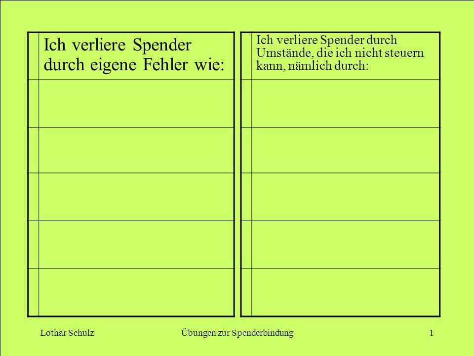 Lothar SchulzÜbungen zur Spenderbindung1 Ich verliere Spender durch eigene Fehler wie: Ich verliere Spender durch Umstände, die ich nicht steuern kann, nämlich durch:
