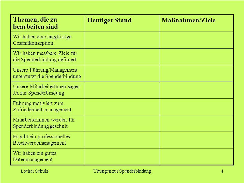 Lothar SchulzÜbungen zur Spenderbindung4 Themen, die zu bearbeiten sind Heutiger StandMaßnahmen/Ziele Wir haben eine langfristige Gesamtkonzeption Wir