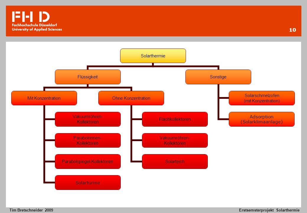 10 Tim Bretschneider 2009Erstsemsterprojekt Solarthermie Solarthermie Flüssigkeit Mit Konzentration Vakuumröhren- Kollektoren Parabolrinnen- Kollektor
