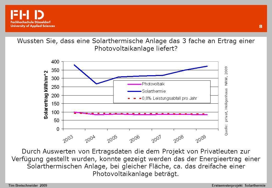 8 Tim Bretschneider 2009Erstsemsterprojekt Solarthermie Wussten Sie, dass eine Solarthermische Anlage das 3 fache an Ertrag einer Photovoltaikanlage l