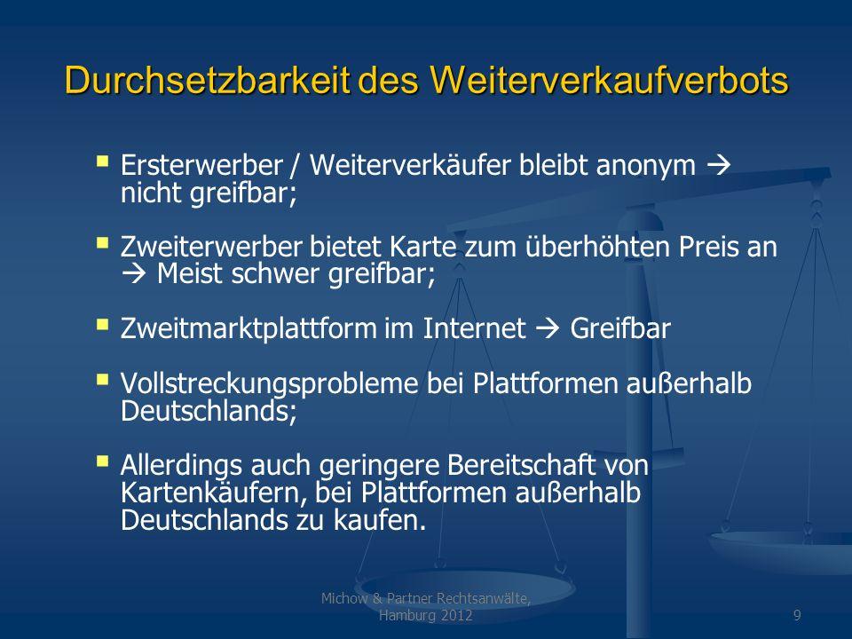 Michow & Partner Rechtsanwälte, Hamburg 20129 Durchsetzbarkeit des Weiterverkaufverbots Ersterwerber / Weiterverkäufer bleibt anonym nicht greifbar; Z