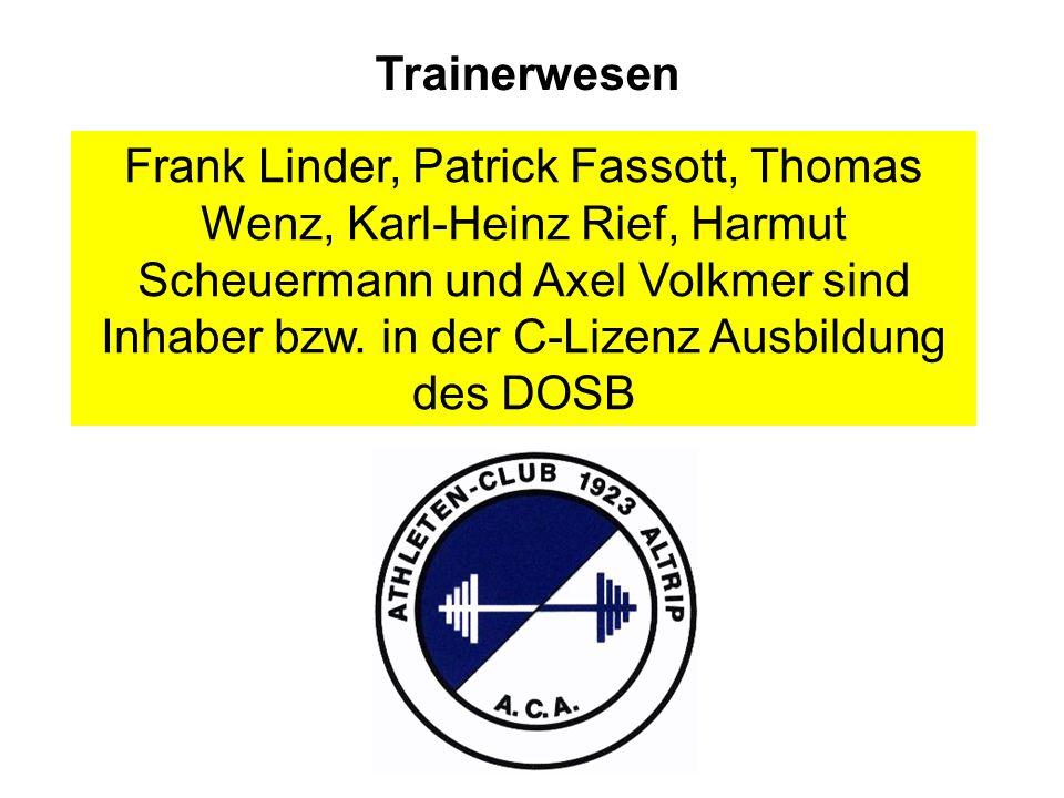 Trainerwesen Frank Linder, Patrick Fassott, Thomas Wenz, Karl-Heinz Rief, Harmut Scheuermann und Axel Volkmer sind Inhaber bzw.