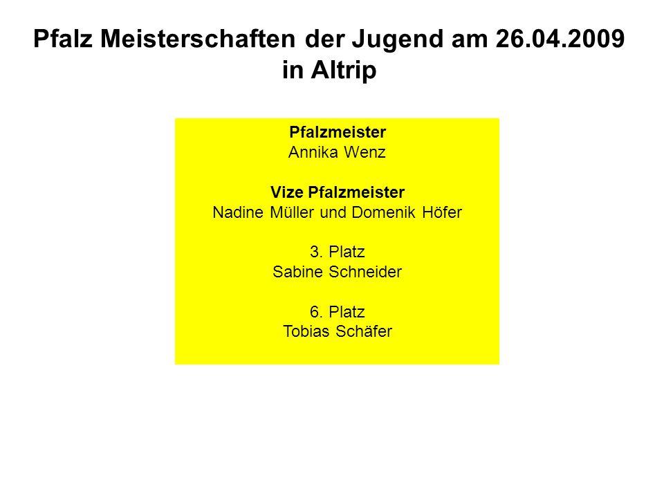 Pfalz Meisterschaften der Jugend am 26.04.2009 in Altrip Pfalzmeister Annika Wenz Vize Pfalzmeister Nadine Müller und Domenik Höfer 3. Platz Sabine Sc