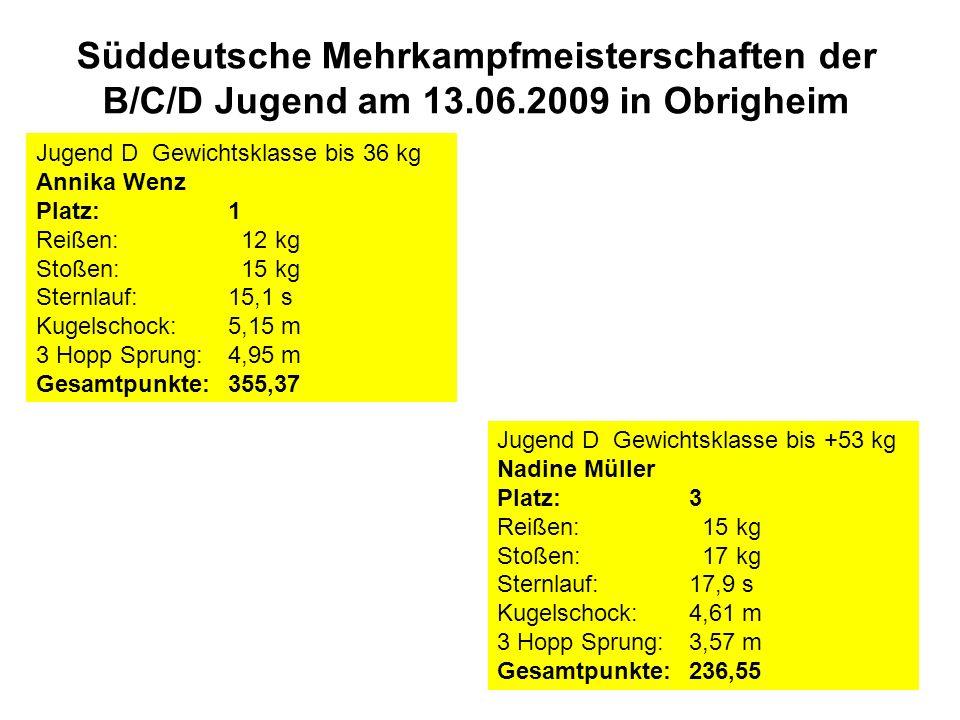 Süddeutsche Mehrkampfmeisterschaften der B/C/D Jugend am 13.06.2009 in Obrigheim Jugend D Gewichtsklasse bis 36 kg Annika Wenz Platz:1 Reißen: 12 kg Stoßen: 15 kg Sternlauf:15,1 s Kugelschock:5,15 m 3 Hopp Sprung:4,95 m Gesamtpunkte: 355,37 Jugend D Gewichtsklasse bis +53 kg Nadine Müller Platz:3 Reißen: 15 kg Stoßen: 17 kg Sternlauf:17,9 s Kugelschock:4,61 m 3 Hopp Sprung:3,57 m Gesamtpunkte: 236,55