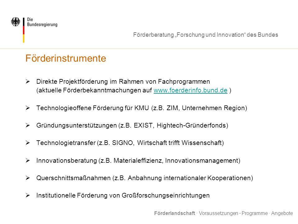Förderberatung Forschung und Innovation des Bundes Fördervoraussetzungen Öffentliches, d.h.