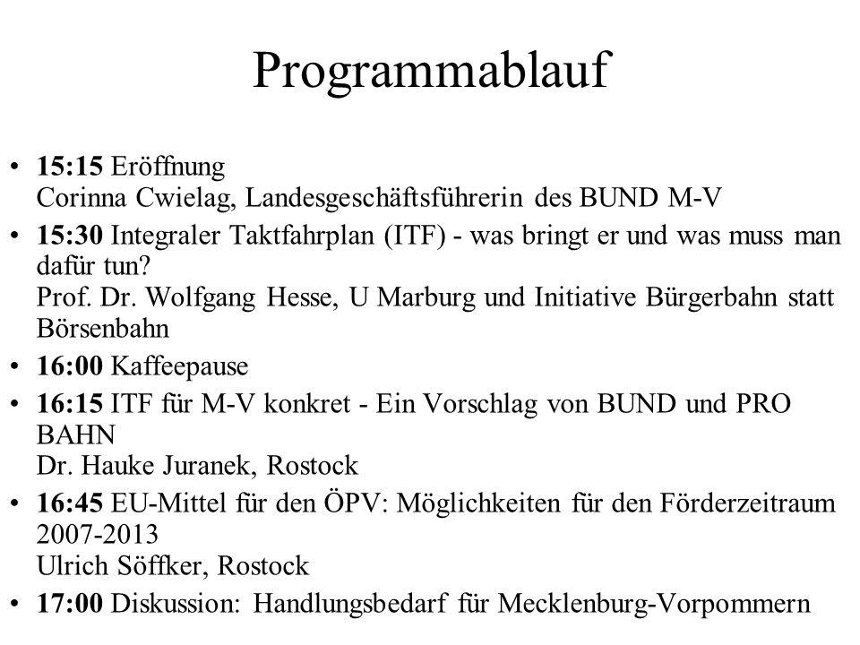 Programmablauf 15:15 Eröffnung Corinna Cwielag, Landesgeschäftsführerin des BUND M-V 15:30 Integraler Taktfahrplan (ITF) - was bringt er und was muss man dafür tun.