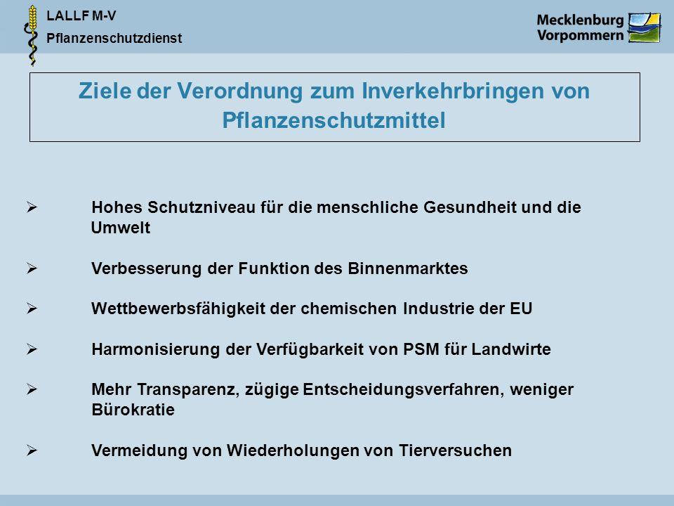 LALLF M-V Pflanzenschutzdienst Ziele der Verordnung zum Inverkehrbringen von Pflanzenschutzmittel Hohes Schutzniveau für die menschliche Gesundheit un