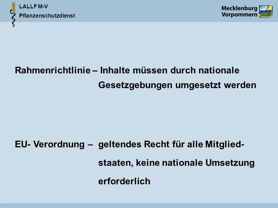 LALLF M-V Pflanzenschutzdienst Rahmenrichtlinie – Inhalte müssen durch nationale Gesetzgebungen umgesetzt werden EU- Verordnung – geltendes Recht für alle Mitglied- staaten, keine nationale Umsetzung erforderlich