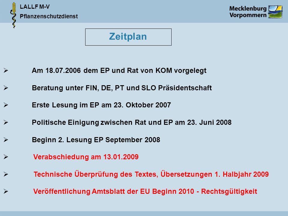 LALLF M-V Pflanzenschutzdienst Zeitplan Am 18.07.2006 dem EP und Rat von KOM vorgelegt Beratung unter FIN, DE, PT und SLO Präsidentschaft Erste Lesung im EP am 23.
