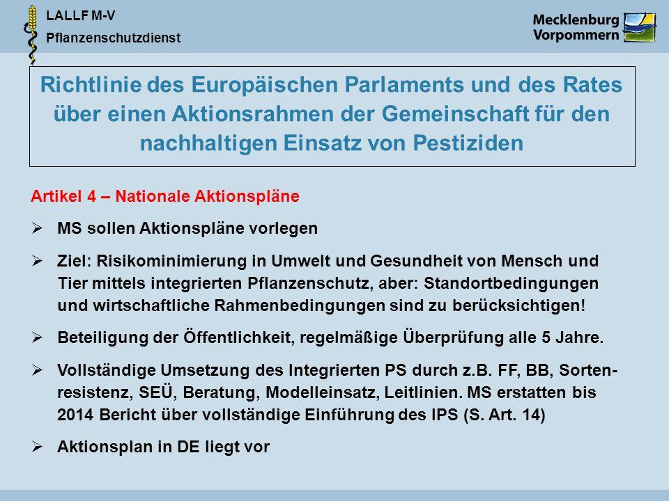 LALLF M-V Pflanzenschutzdienst Richtlinie des Europäischen Parlaments und des Rates über einen Aktionsrahmen der Gemeinschaft für den nachhaltigen Ein