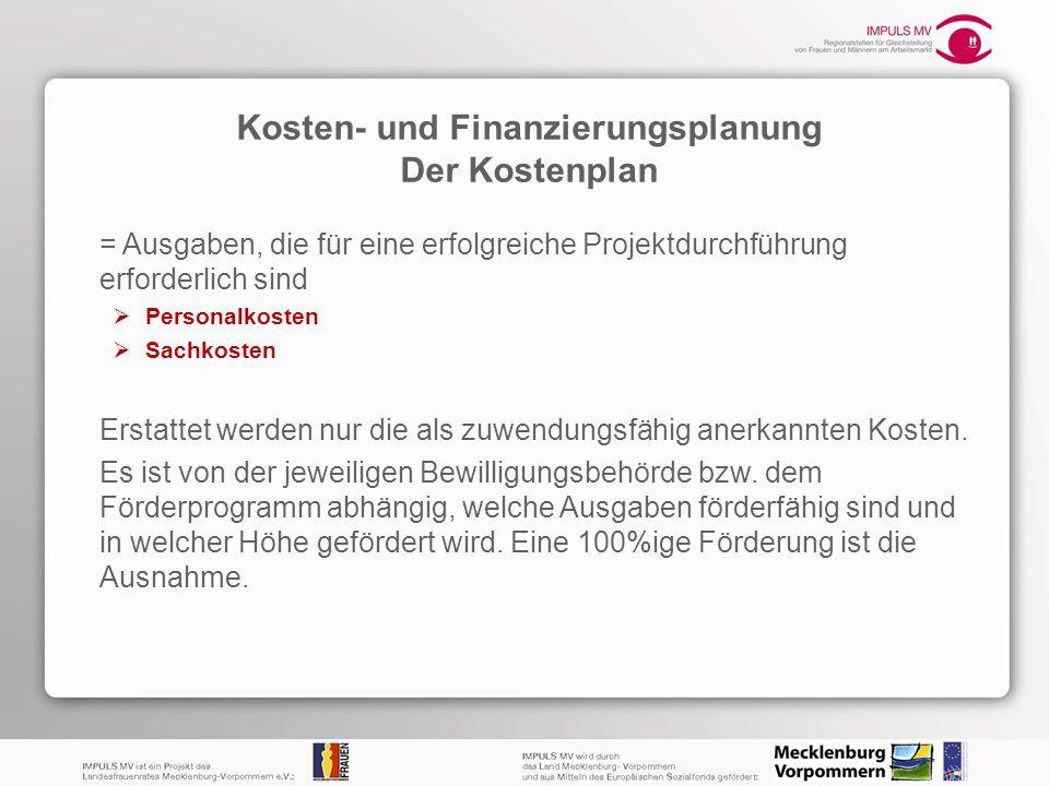 Kosten- und Finanzierungsplanung Der Kostenplan = Ausgaben, die für eine erfolgreiche Projektdurchführung erforderlich sind Personalkosten Sachkosten