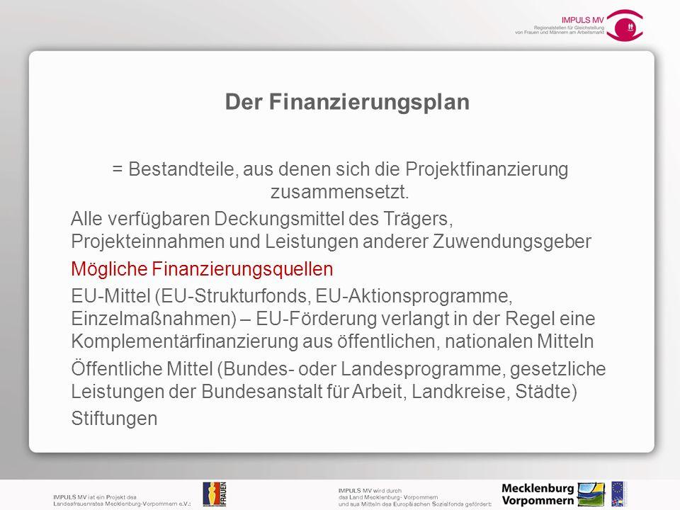 Der Finanzierungsplan = Bestandteile, aus denen sich die Projektfinanzierung zusammensetzt. Alle verfügbaren Deckungsmittel des Trägers, Projekteinnah