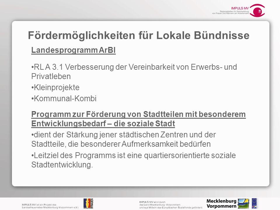 Fördermöglichkeiten für Lokale Bündnisse Landesprogramm ArBI RL A 3.1 Verbesserung der Vereinbarkeit von Erwerbs- und Privatleben Kleinprojekte Kommun