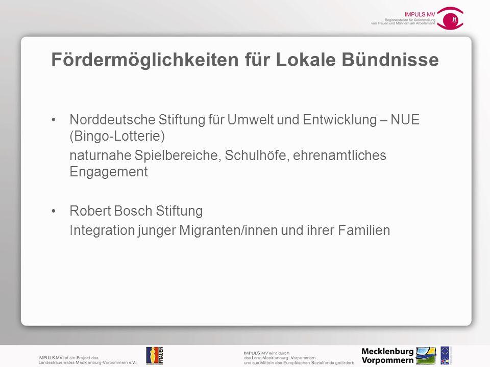 Fördermöglichkeiten für Lokale Bündnisse Norddeutsche Stiftung für Umwelt und Entwicklung – NUE (Bingo-Lotterie) naturnahe Spielbereiche, Schulhöfe, e