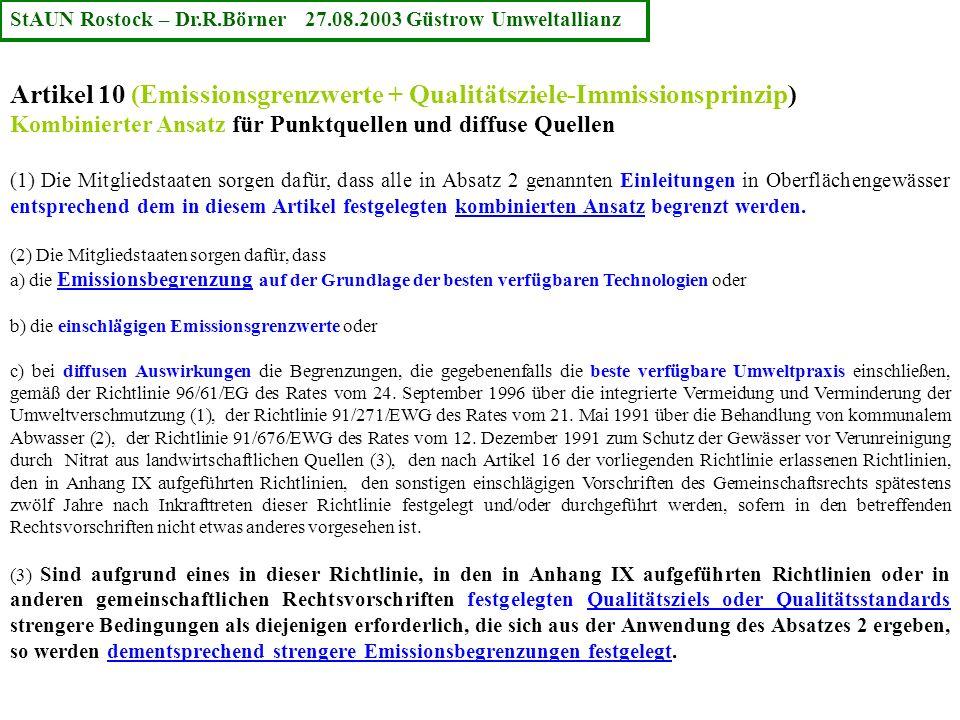 Artikel 10 (Emissionsgrenzwerte + Qualitätsziele-Immissionsprinzip) Kombinierter Ansatz für Punktquellen und diffuse Quellen (1) Die Mitgliedstaaten s