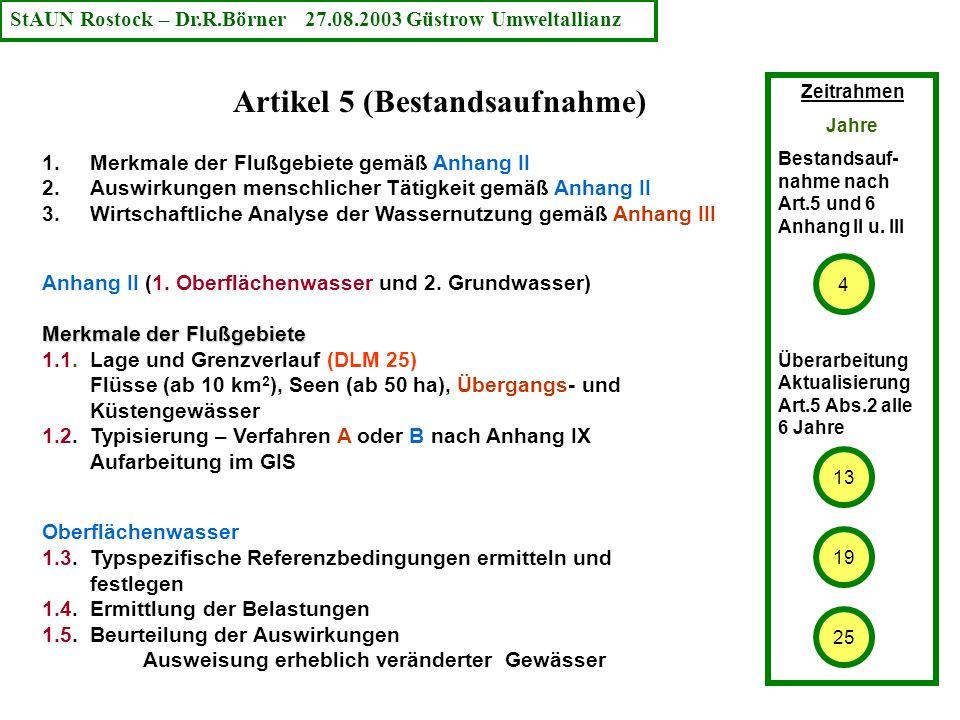 1.Merkmale der Flußgebiete gemäß Anhang II 2.Auswirkungen menschlicher Tätigkeit gemäß Anhang II 3.Wirtschaftliche Analyse der Wassernutzung gemäß Anh