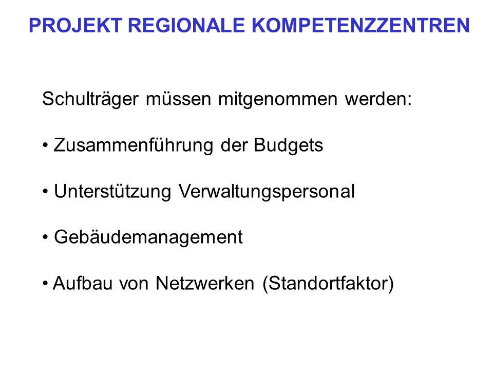 Schulträger müssen mitgenommen werden: Zusammenführung der Budgets Unterstützung Verwaltungspersonal Gebäudemanagement Aufbau von Netzwerken (Standort