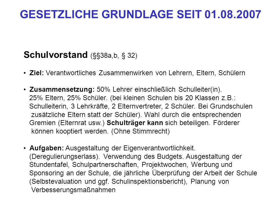 Schleswig-Holstein: § 3 Selbstverwaltung der Schule Die Schulen sind im Rahmen der geltenden Rechts- und Verwaltungsvorschriften selbständig in der Durchführung des Auftrages der Schule und in der Verwaltung ihrer eigenen Angelegenheiten.