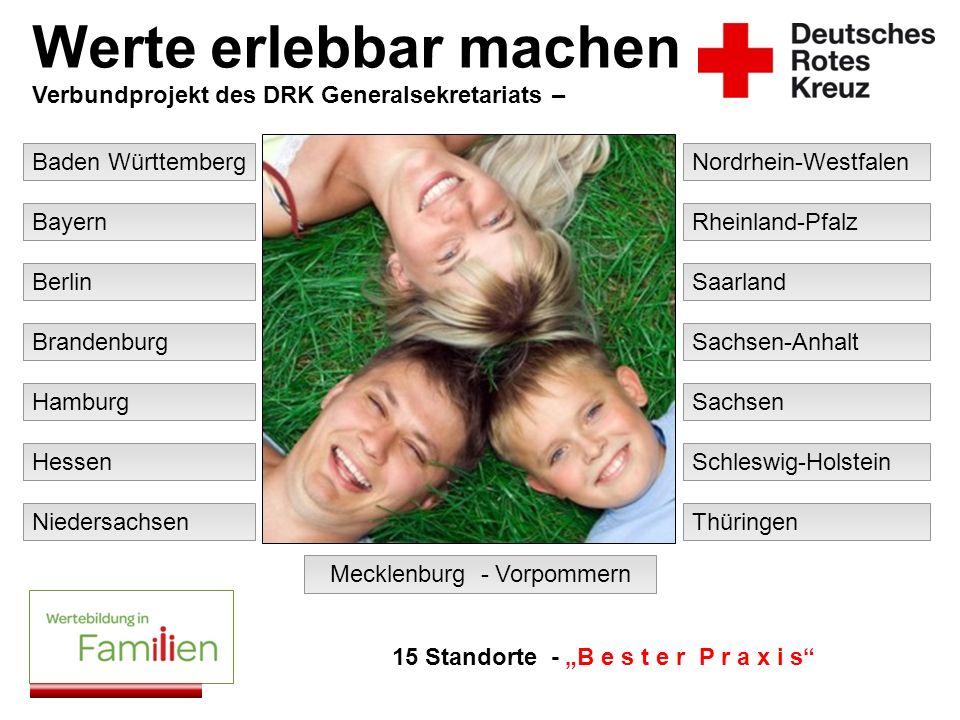 Baden Württemberg Werte erlebbar machen Verbundprojekt des DRK Generalsekretariats – Bayern Berlin Brandenburg Hamburg Hessen Mecklenburg - Vorpommern