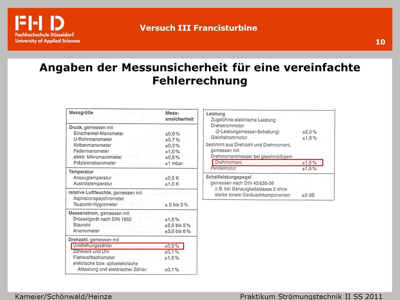 Versuch III Francisturbine Kameier/Schönwald/Heinze Praktikum Strömungstechnik II SS 2011 Angaben der Messunsicherheit für eine vereinfachte Fehlerrec