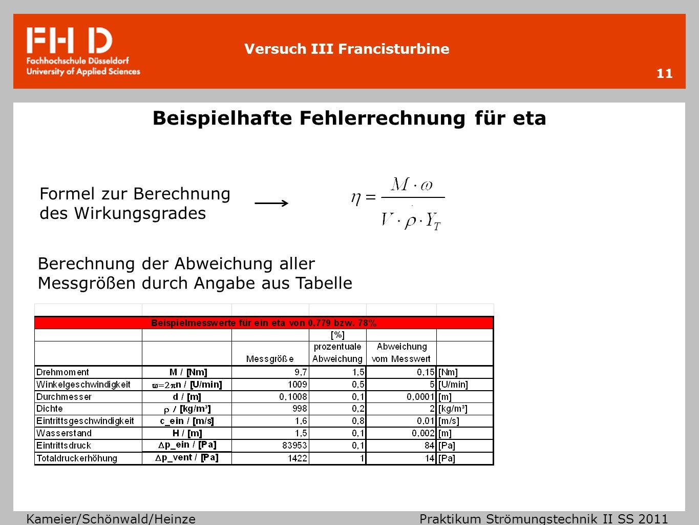 Versuch III Francisturbine Kameier/Schönwald/Heinze Praktikum Strömungstechnik II SS 2011 Beispielhafte Fehlerrechnung für eta 11 Formel zur Berechnun