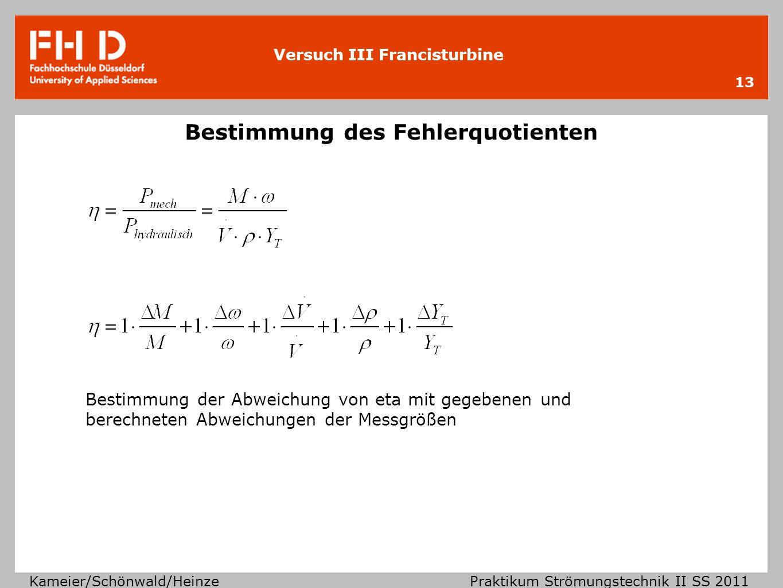 Versuch III Francisturbine Kameier/Schönwald/Heinze Praktikum Strömungstechnik II SS 2011 13 Bestimmung des Fehlerquotienten Bestimmung der Abweichung