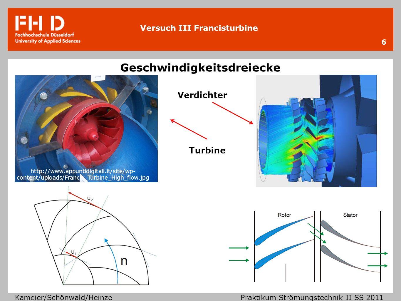 Versuch III Francisturbine Kameier/Schönwald/Heinze Praktikum Strömungstechnik II SS 2011 Geschwindigkeitsdreiecke 6 http://www.appuntidigitali.it/sit