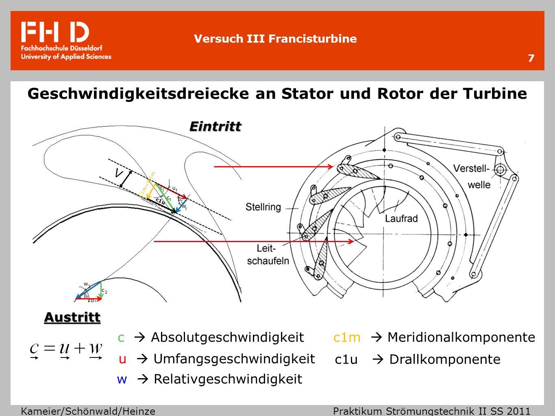 Versuch III Francisturbine Kameier/Schönwald/Heinze Praktikum Strömungstechnik II SS 2011 Geschwindigkeitsdreiecke an Stator und Rotor der Turbine 7 V