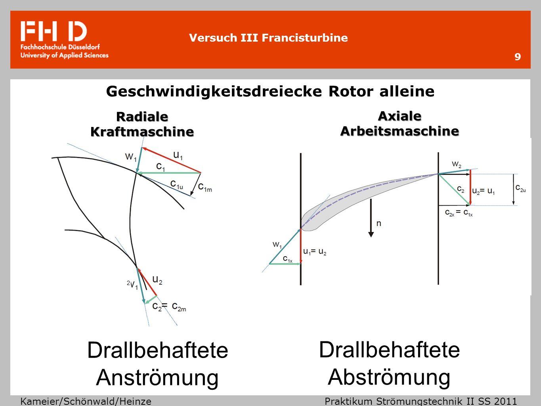 Versuch III Francisturbine Kameier/Schönwald/Heinze Praktikum Strömungstechnik II SS 2011 Geschwindigkeitsdreiecke Rotor alleine 9 2 Drallbehaftete Ab