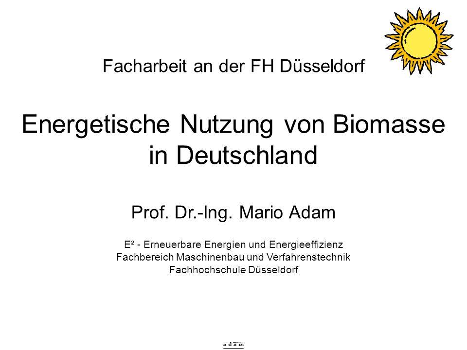 a d a m Facharbeit an der FH Düsseldorf Energetische Nutzung von Biomasse in Deutschland Prof. Dr.-Ing. Mario Adam E² - Erneuerbare Energien und Energ