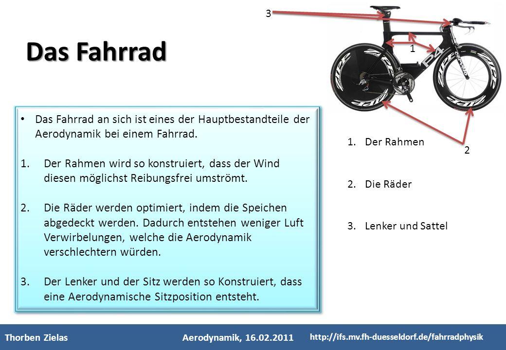 - Kinderfachhochschule - Thorben ZielasAerodynamik, 16.02.2011 http://ifs.mv.fh-duesseldorf.de/fahrradphysik Das Fahrrad an sich ist eines der Hauptbe