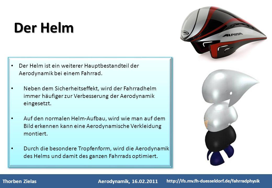 - Kinderfachhochschule - Thorben ZielasAerodynamik, 16.02.2011 http://ifs.mv.fh-duesseldorf.de/fahrradphysik Der Helm ist ein weiterer Hauptbestandtei