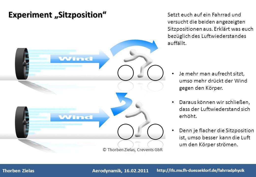 - Kinderfachhochschule - Thorben ZielasAerodynamik, 16.02.2011 http://ifs.mv.fh-duesseldorf.de/fahrradphysik Experiment Sitzposition 1 2 3 Setzt euch