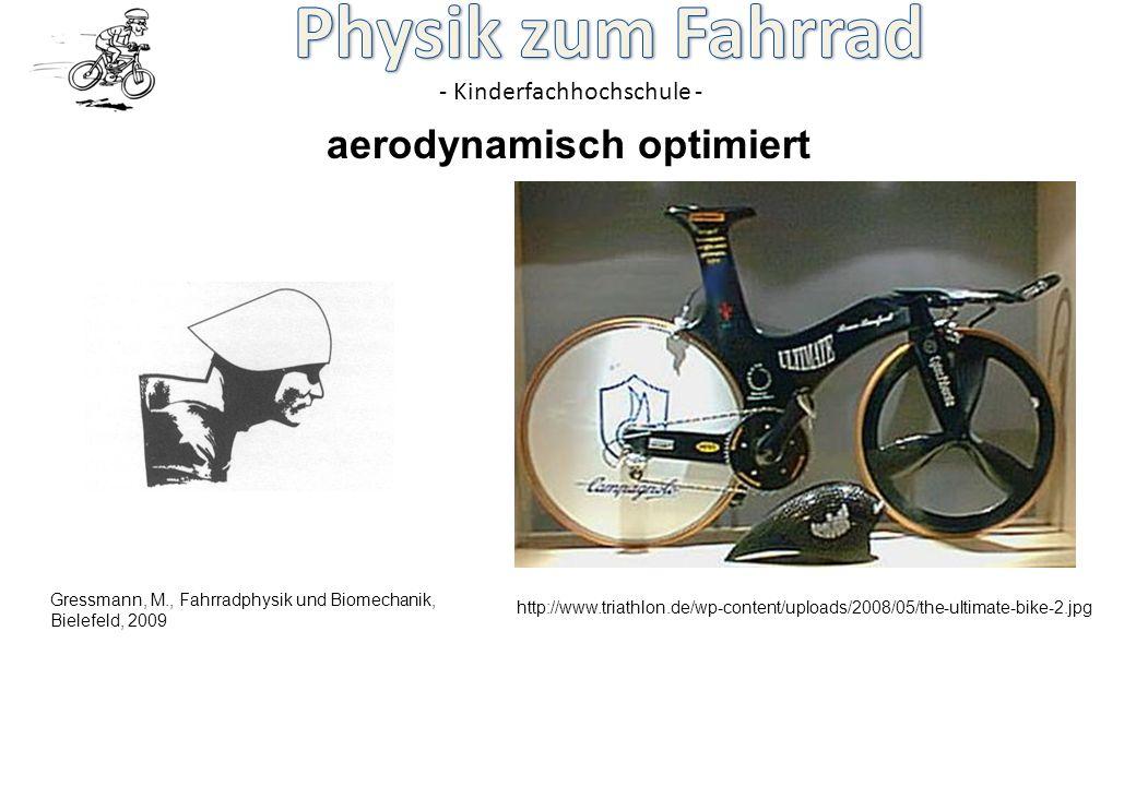 - Kinderfachhochschule - aerodynamisch optimiert Gressmann, M., Fahrradphysik und Biomechanik, Bielefeld, 2009 http://www.triathlon.de/wp-content/uplo