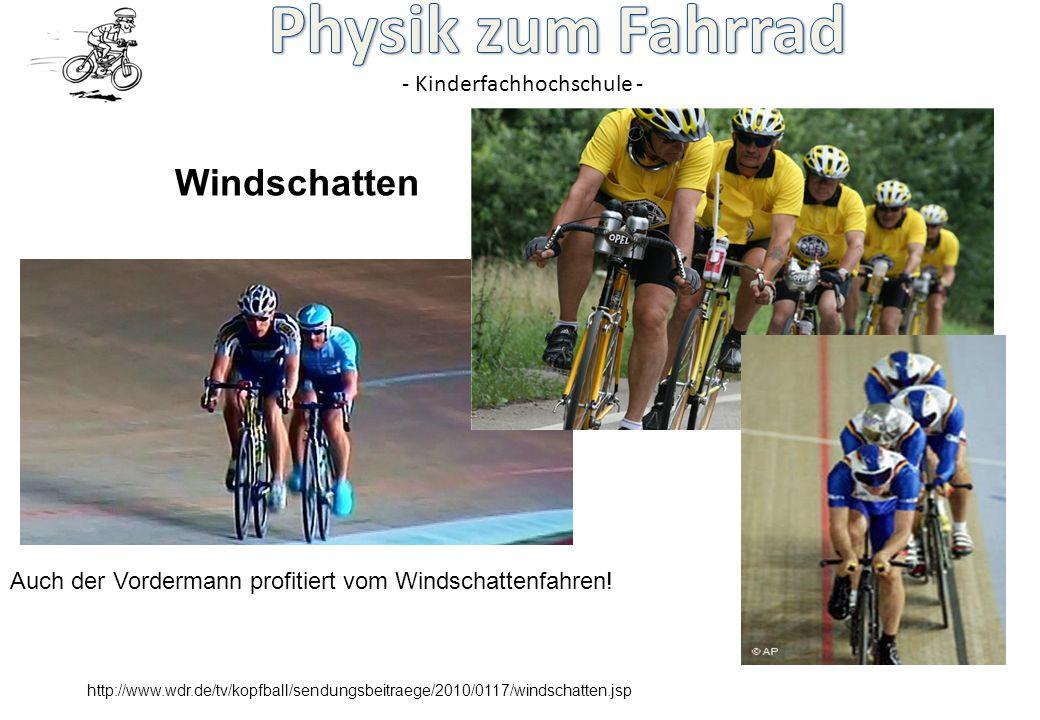 - Kinderfachhochschule - http://www.wdr.de/tv/kopfball/sendungsbeitraege/2010/0117/windschatten.jsp Auch der Vordermann profitiert vom Windschattenfah