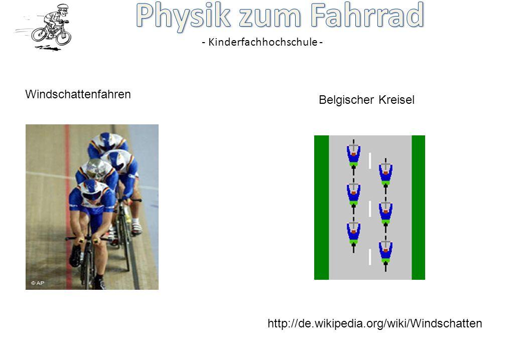 - Kinderfachhochschule - http://de.wikipedia.org/wiki/Windschatten Belgischer Kreisel Windschattenfahren