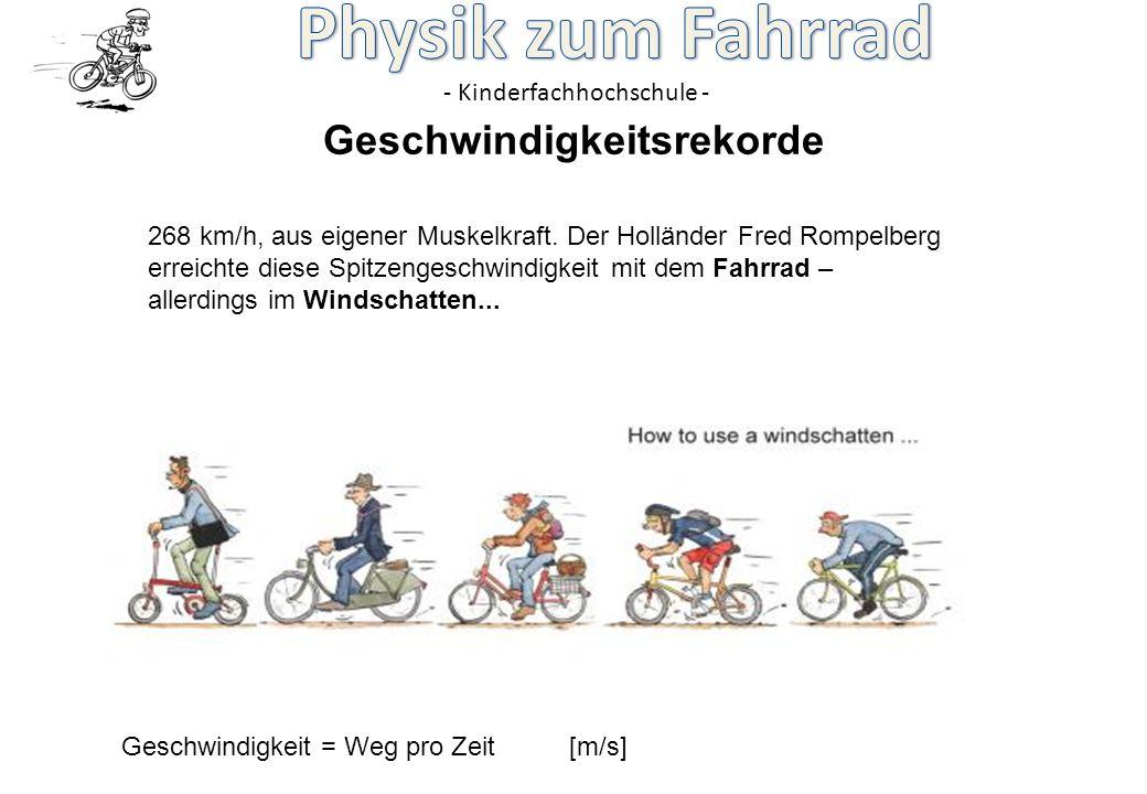 - Kinderfachhochschule - 268 km/h, aus eigener Muskelkraft. Der Holländer Fred Rompelberg erreichte diese Spitzengeschwindigkeit mit dem Fahrrad – all