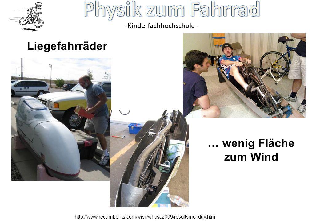 - Kinderfachhochschule - http://www.recumbents.com/wisil/whpsc2009/resultsmonday.htm Liegefahrräder … wenig Fläche zum Wind