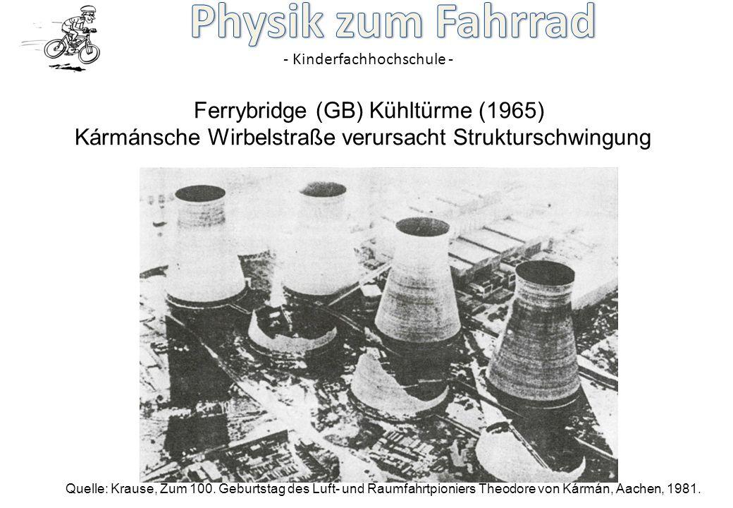 - Kinderfachhochschule - Ferrybridge (GB) Kühltürme (1965) Kármánsche Wirbelstraße verursacht Strukturschwingung Quelle: Krause, Zum 100. Geburtstag d