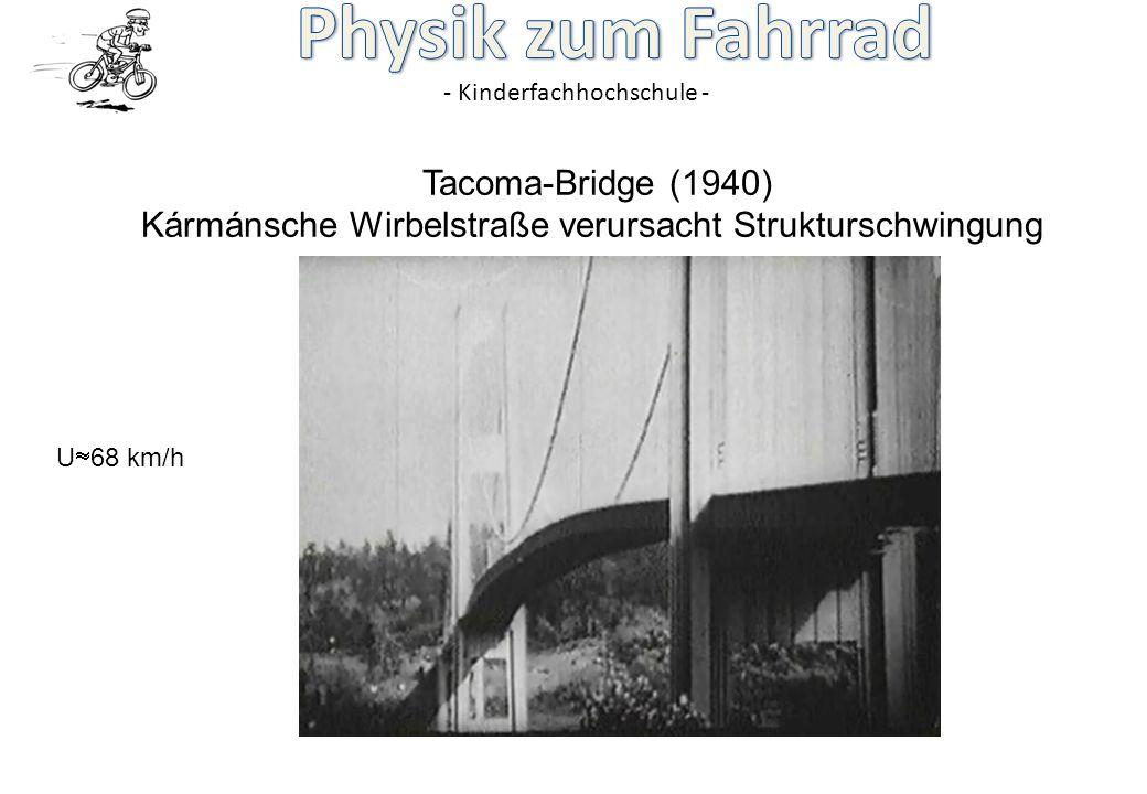 - Kinderfachhochschule - Tacoma-Bridge (1940) Kármánsche Wirbelstraße verursacht Strukturschwingung U 68 km/h