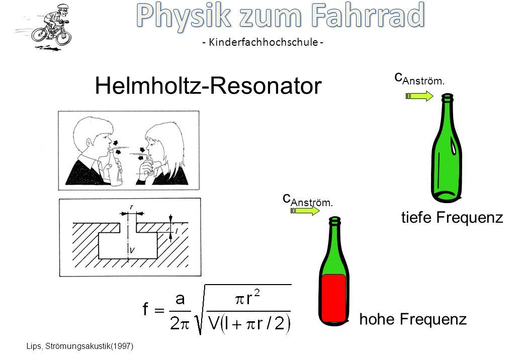 - Kinderfachhochschule - Helmholtz-Resonator Lips, Strömungsakustik(1997) c Anström. hohe Frequenz tiefe Frequenz