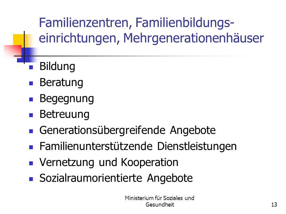 Ministerium für Soziales und Gesundheit13 Familienzentren, Familienbildungs- einrichtungen, Mehrgenerationenhäuser Bildung Beratung Begegnung Betreuun