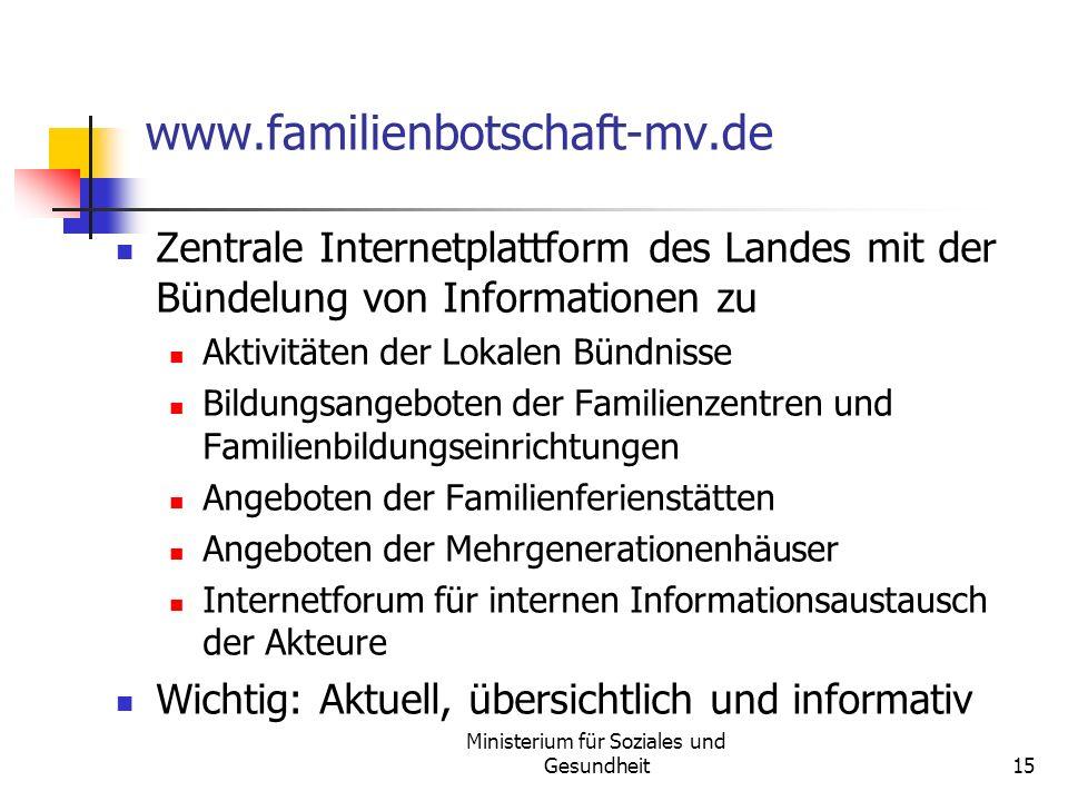 Ministerium für Soziales und Gesundheit15 www.familienbotschaft-mv.de Zentrale Internetplattform des Landes mit der Bündelung von Informationen zu Akt