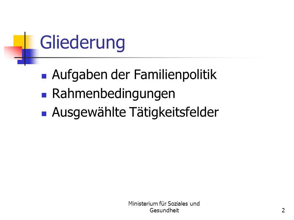 Ministerium für Soziales und Gesundheit2 Gliederung Aufgaben der Familienpolitik Rahmenbedingungen Ausgewählte Tätigkeitsfelder
