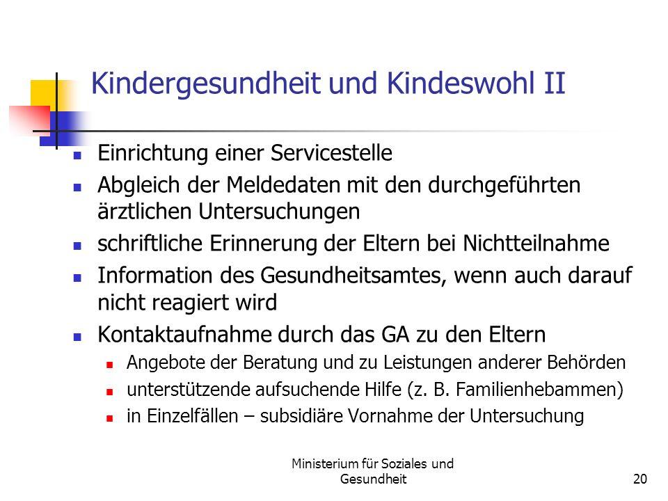 Ministerium für Soziales und Gesundheit20 Kindergesundheit und Kindeswohl II Einrichtung einer Servicestelle Abgleich der Meldedaten mit den durchgefü