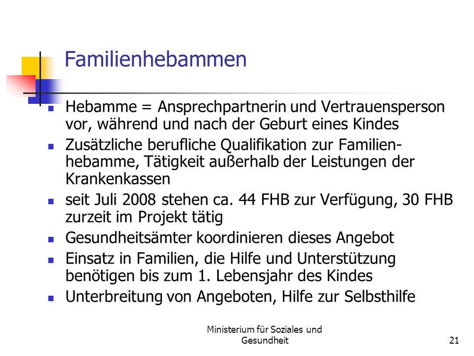 Ministerium für Soziales und Gesundheit21 Familienhebammen Hebamme = Ansprechpartnerin und Vertrauensperson vor, während und nach der Geburt eines Kin